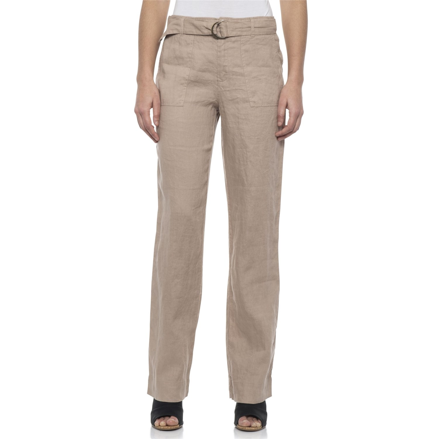 9729a8f7af Tahari Solid Fly-Front Belted Pants - Linen (For Women) in Sunroom ...