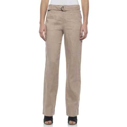 Tahari Solid Fly-Front Belted Pants - Linen (For Women) in Sunroom - Closeouts