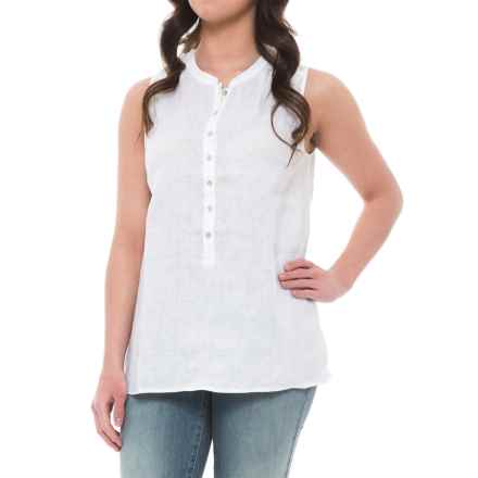 Tahari Solid Linen Popover Tunic Shirt - Sleeveless (For Women) in White - Closeouts