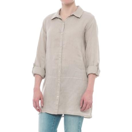 Tahari Solid Linen Tunic Shirt - Long Sleeve (For Women) in Soft Khaki