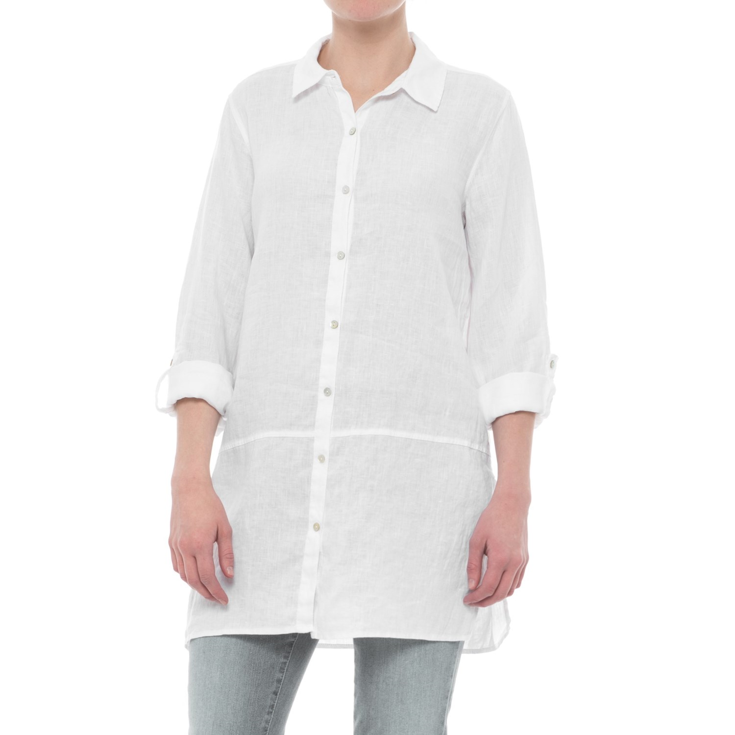 2c28a1994a0 Tahari Solid Linen Tunic Shirt - Long Sleeve (For Women) in White ...