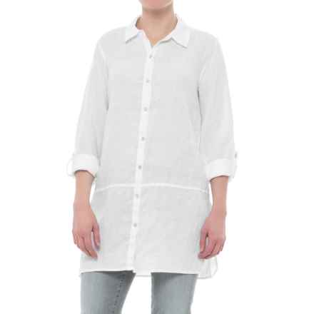 2435986567 Tahari Solid Linen Tunic Shirt - Long Sleeve (For Women) in White -  Closeouts