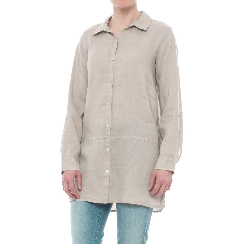 fecd3c50482 Tahari Solid Linen Tunic Shirt - Long Sleeve (For Women)