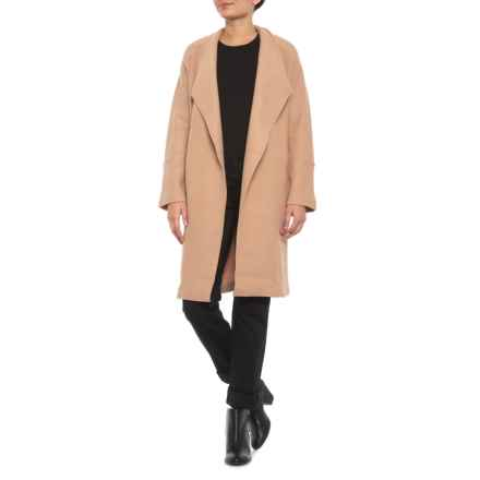 Tahari Solid Wool Long Coat - Raw Edge Seaming (For Women) in Camel - Closeouts