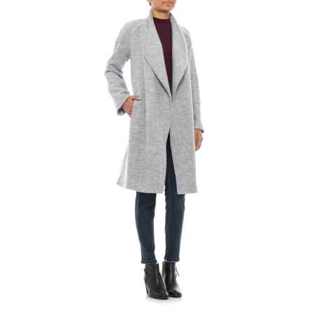 Tahari Solid Wool Long Coat - Raw Edge Seaming (For Women) in Light Heather Grey - Closeouts