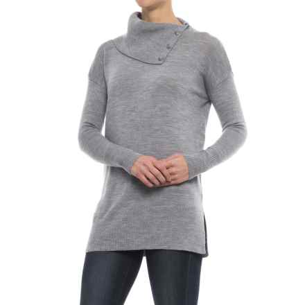 Tahari Split Neck Tunic Sweater - Merino Wool (For Women) in Medium Heather Grey - Closeouts