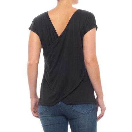Tahari Surplice Back Shirt - Short Sleeve (For Women) in Black