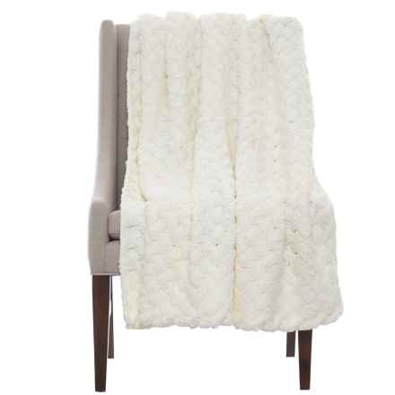 "Tahari Twisted Handknit Throw Blanket - 50x60"" in Ivory - Closeouts"
