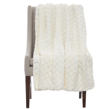 "Tahari Twisted Handknit Throw Blanket - 50x60"" in Ivory"