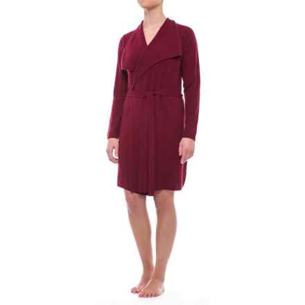 Tahari Waterfall Cashmere Cardigan Robe - Long Sleeve (For Women) in Beet Red Solid - Closeouts