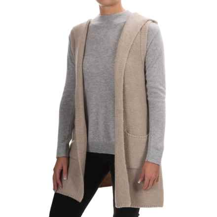 Tahari Wool Blend Open Front Cardigan Sweater - Hood, Sleeveless (For Women) in Light Truffle Heather - Closeouts