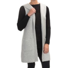 Tahari Wool Blend Open Front Cardigan Sweater - Hood, Sleeveless (For Women) in Pale Grey Heather - Closeouts