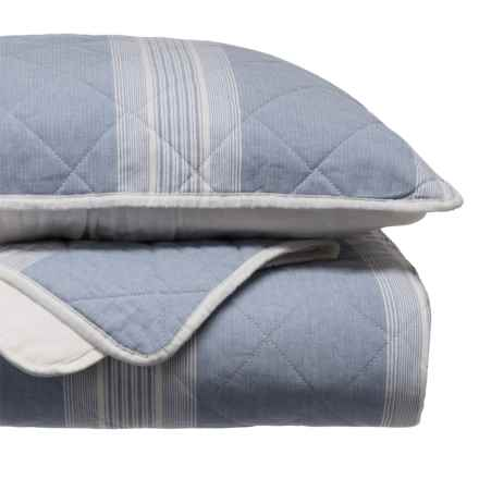 Tahari Woven Stripe Quilt Set - Full-Queen in Blue/White - Closeouts