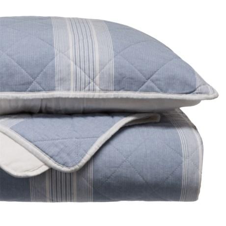 Tahari Woven Stripe Quilt Set - King in Blue/White