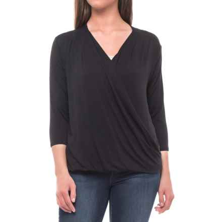 Tahari Wrap Front Shirt - 3/4 Sleeve (For Women) in Black - Closeouts
