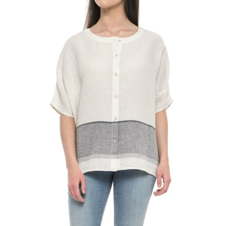 Tahari Yarn-Dyed Border Shirt - Linen, Short Sleeve (For Women) in Neutral Border Stripe
