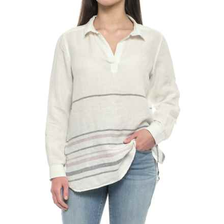 Tahari Yarn-Dyed Border Stripe Popover Shirt - Linen, Long Sleeve (For Women) in Ivory Sweater Stripe - Closeouts