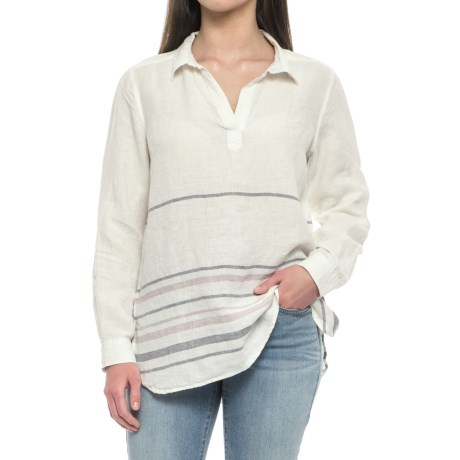 Tahari Yarn-Dyed Border Stripe Popover Shirt - Linen, Long Sleeve (For Women) in Ivory Sweater Stripe