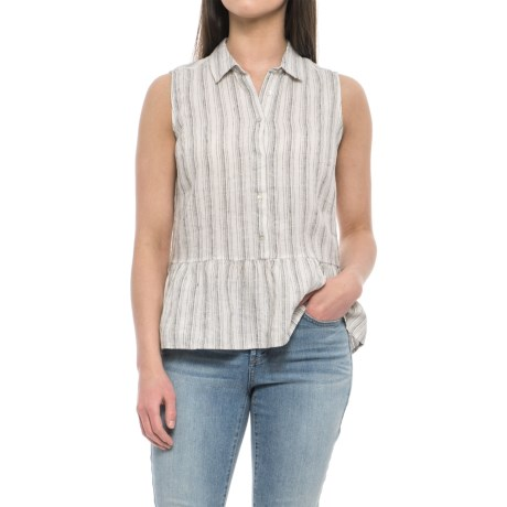 Tahari Yarn-Dyed Stripe Linen Shirt - Sleeveless (For Women) in Skinny Stripe