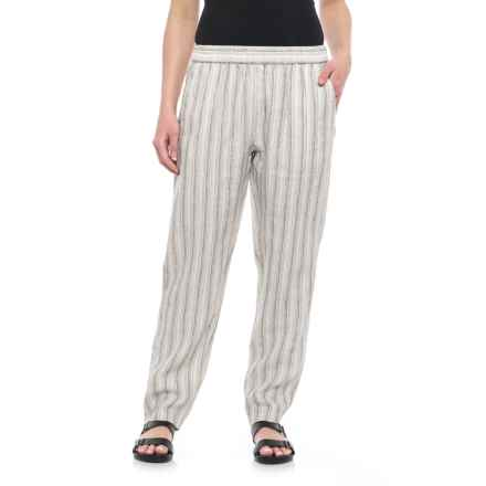 Tahari Yarn-Dyed Stripe Pull-On Linen Pants - Tapered Leg (For Women) in Skinny Stripe - Closeouts