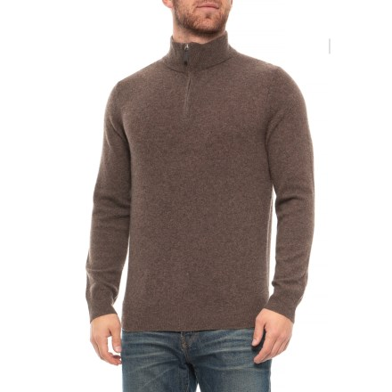 Clearance. Tahari Zip Neck Cashmere Sweater (For Men) in Acorn - Closeouts 3a266a085