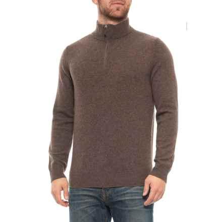 Tahari Zip Neck Cashmere Sweater (For Men) in Acorn - Closeouts