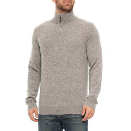 Tahari Zip Neck Cashmere Sweater (For Men) in Elephant - Closeouts