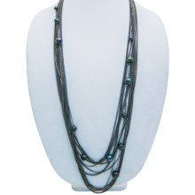 Tahitian Pearl Multi-Chain Necklace in Hematite - 2nds