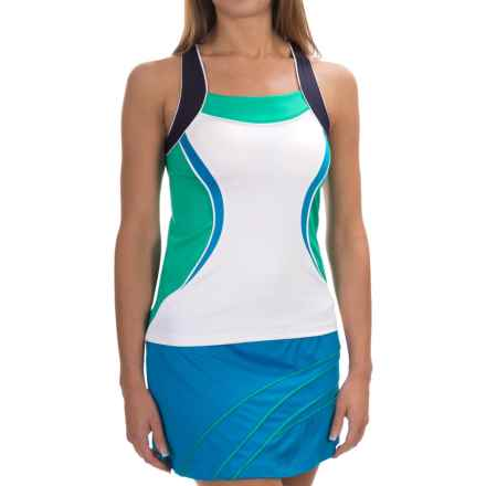 Tail Activewear Maddie Tank Top - Racerback (For Women) in White/Sea Glass/Navy - Closeouts