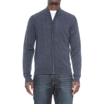 Tailorbyrd Drop-Needle Cardigan Sweater - Wool, Zip Front (For Men) in Denim Blue - Closeouts