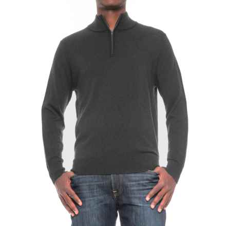 TailorByrd Merino Wool Zip Neck Sweater (For Men) in Charcoal - Closeouts