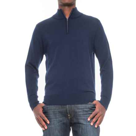 TailorByrd Merino Wool Zip Neck Sweater (For Men) in Indigo - Closeouts