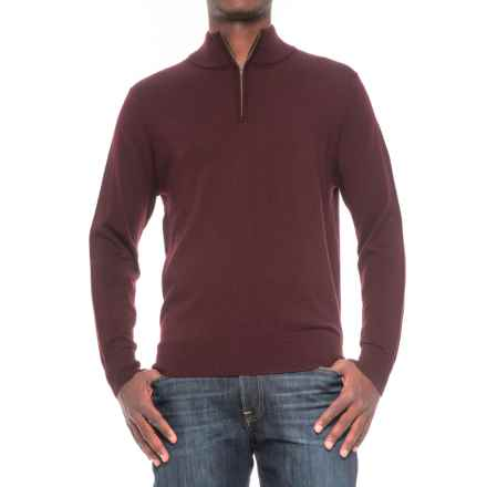 TailorByrd Merino Wool Zip Neck Sweater (For Men) in Maroon - Closeouts