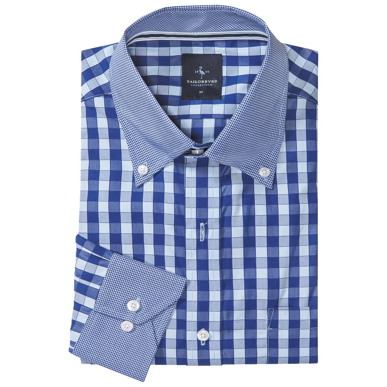 Tailorbyrd mini check sport shirt for men save 79 for Hidden button down collar shirts