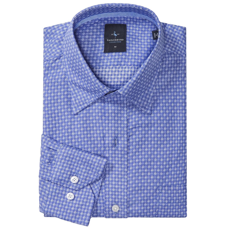 Tailorbyrd mini check sport shirt hidden button down for Hidden button down collar shirts