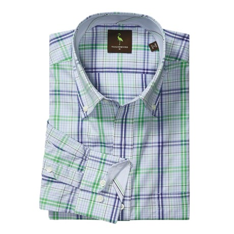 Tailorbyrd Plaid Sport Shirt - Contrast Facings, Long Sleeve (For Men) in Light Blue/Green