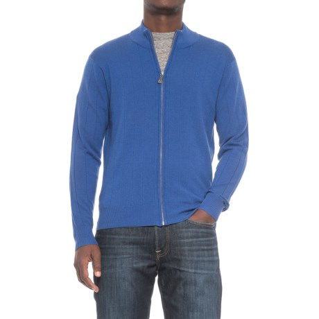 TailorByrd Tailorbyrd Drop-Needle Cardigan Sweater - Wool, Zip Front (For Men) in Royal