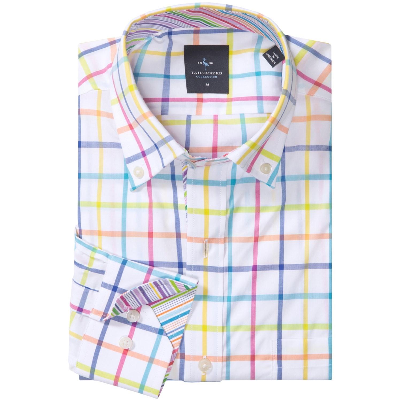 Tailorbyrd wide stripe sport shirt for men save 65 for Hidden button down collar shirts