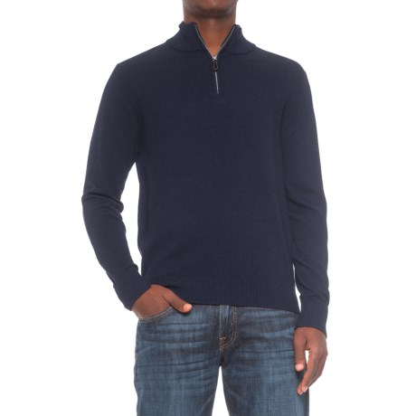 TailorByrd Zip Neck Sweater (For Men) in Navy
