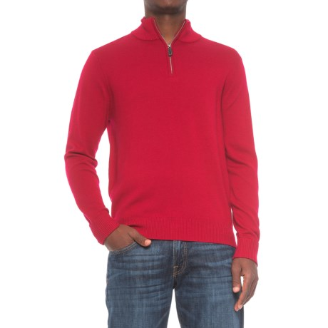 TailorByrd Zip Neck Sweater (For Men) - RED (L )