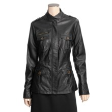 Tall Girl Faux-Leather Jacket - Full Zip (For Tall Women) in Black - Closeouts