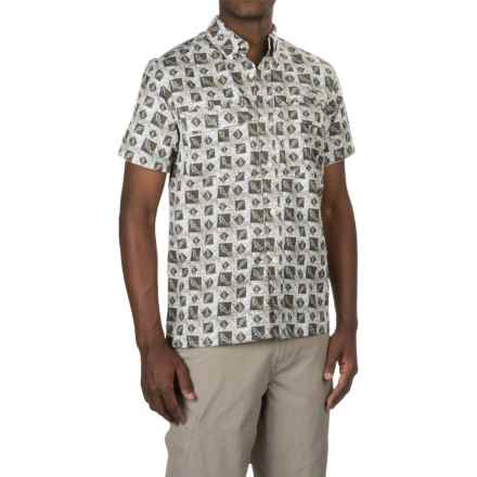 Tallwoods Button-Up Fishing Shirt - Short Sleeve (For Men) in Green Shadow - Closeouts