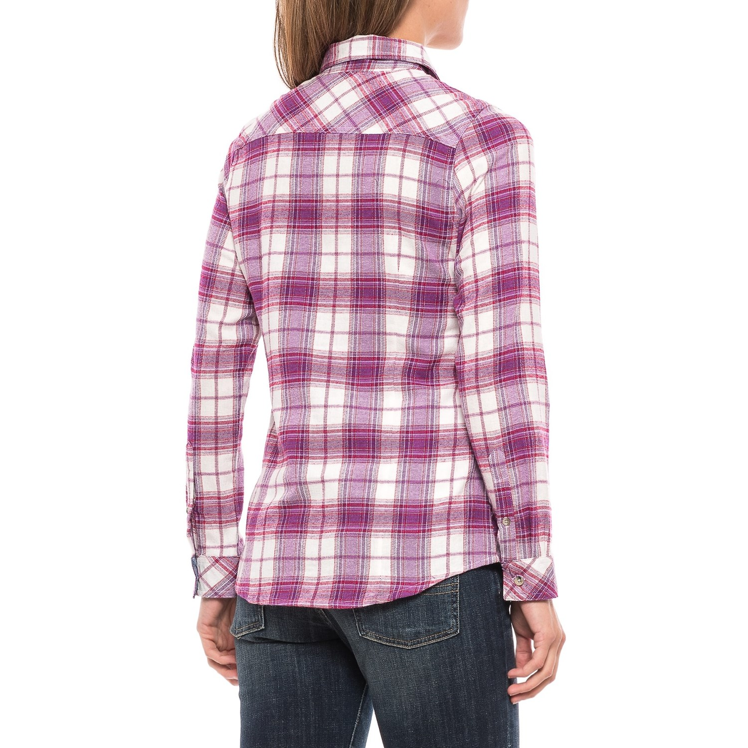 Tallwoods cotton plaid flannel shirt for women save 75 for Plaid shirt long sleeve
