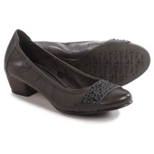 Tamaris Rhinestone Accent Pumps - Leather (For Women) in Anthracite - Closeouts