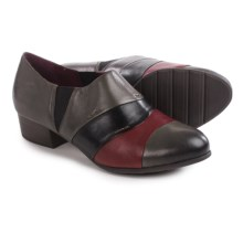 Tamaris Stacked Heel Shoes - Leather, Slip-Ons (For Women) in Cigar Combo - Closeouts