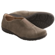 Taos Footwear Center Peace Shoes - Suede, Slip-Ons (For Women) in Dark Khaki Suede - Closeouts