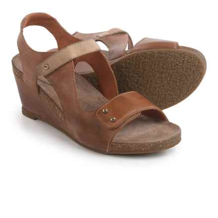 Taos Footwear Chrissy Wedge Sandals - Leather (For Women) in Camel Stone - Closeouts