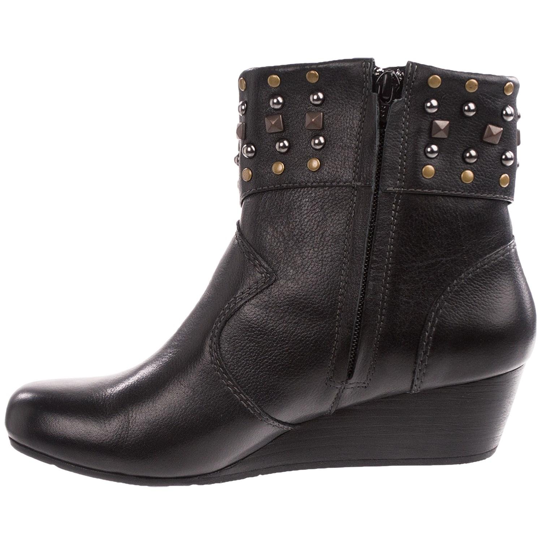 Leather Wedge Heel Boots