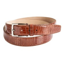 Tardini Handwaxed Alligator Belt - Silver Buckle (For Men) in Cognac - Closeouts