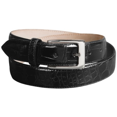 Tardini Polished American Alligator Belt  (For Men) in Black W/ Silver Buckle